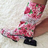 Красивые яркие женские весенние стильные тканевые женские сапожки с открытым носком и кружевом. Арт-0176, фото 1