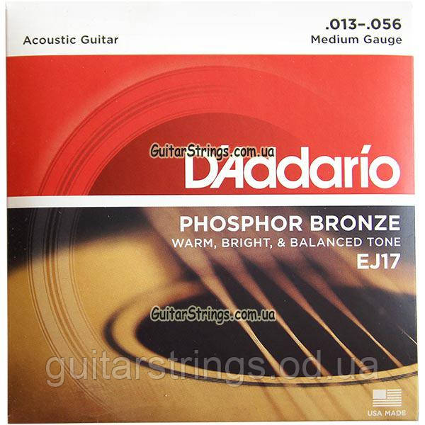 Струны D'Addario EJ17 Phosphor Bronze Medium 13-56