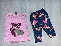 """Летний детский костюм для девочки 2-5 лет,""""Котик"""",светло розового цвета"""
