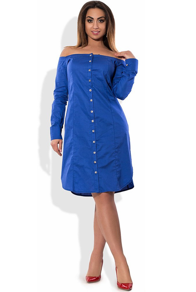 Синее платье рубашка с открытыми плечами размеры от XL ПБ-418
