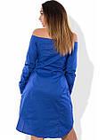Синее платье рубашка с открытыми плечами размеры от XL ПБ-418, фото 2