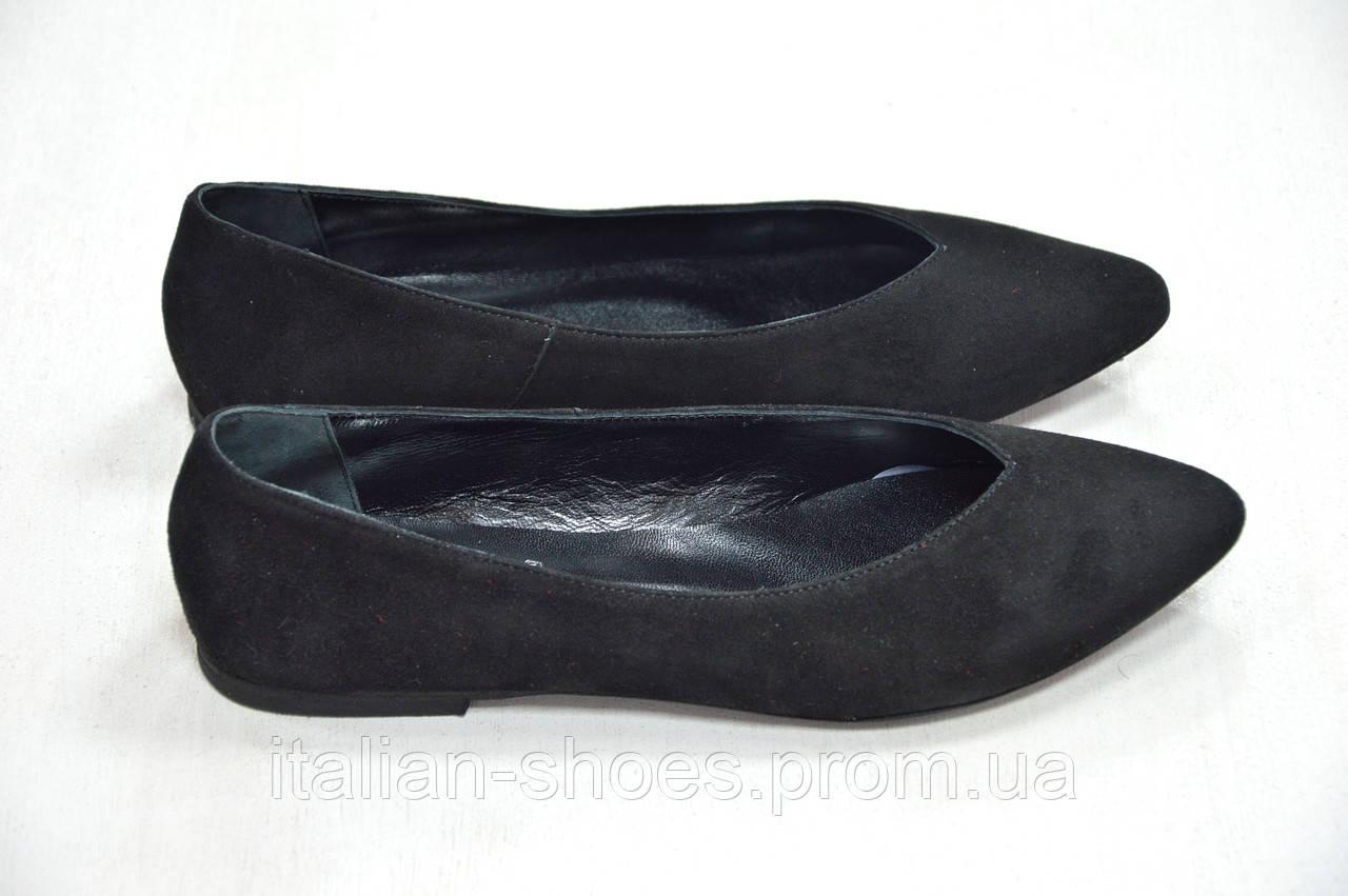 Балетки замшевые черного цвета Kore Италия