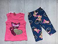 """Летний детский костюм для девочки 2-5 лет,""""Котик"""", розового цвета"""