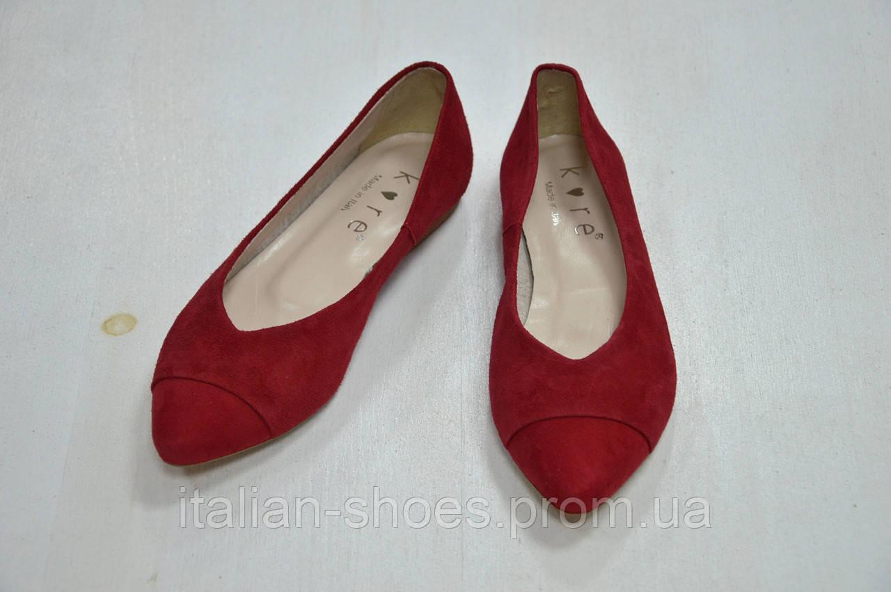 Балетки замшевые красного цвета Kore Италия