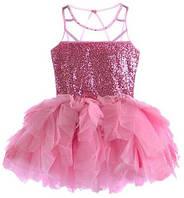 """Розовое платье в пайетках для девочки+повязка """"розовое облако"""""""