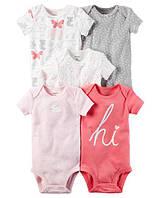 бодик Carter's с коротким рукавом для девочки на рост 67-72см(9М), белые, красный