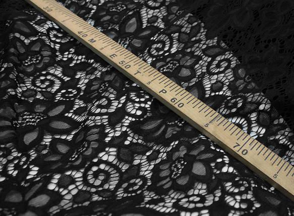 Гипюр плотный стрейчевый с цветами черный, фото 2