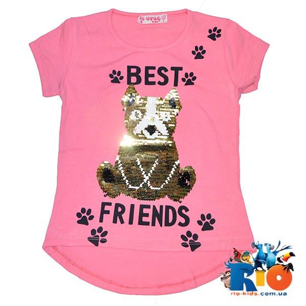 """Детская футболка """"Best Friends""""(пайетки перевертыши) , для девочек от 7-11 лет (5 ед. в уп.)"""