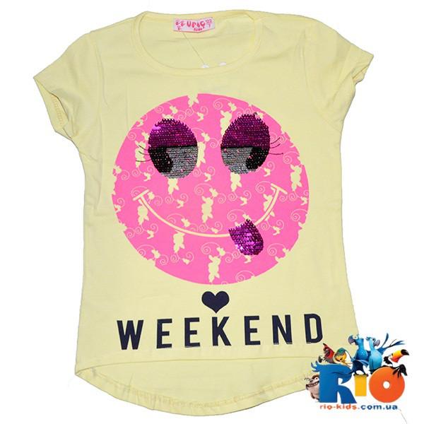 """Детская футболка """"Weekend"""" (пайетки перевертыши) , для девочек от 7-11 лет (5 ед. в уп.)"""