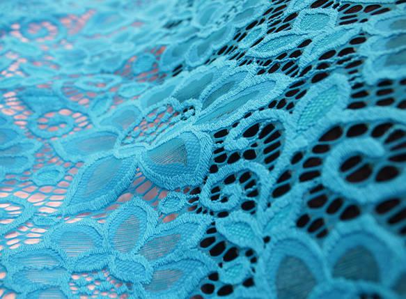 Гипюр плотный стрейчевый с цветами голубая бирюза, фото 2