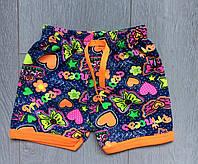 """Детские шортикидля девочки """"Сердечки с бантиками"""" от 3 до 7лет,синие с оранжевой окантовкой"""
