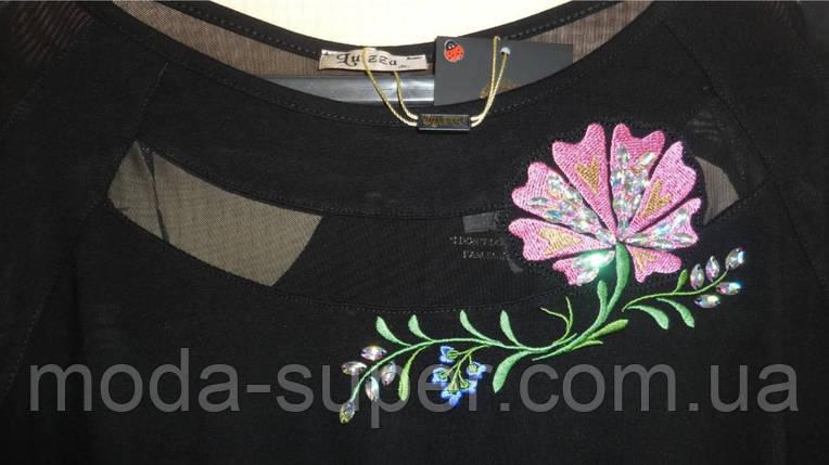 Туника - блуза с Розой  50-62рр, пр- во Турция, большие размеры, черный, фото 2