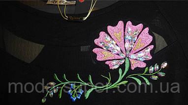Туника - блуза с Розой  50-62рр, пр- во Турция, большие размеры, черный, фото 3