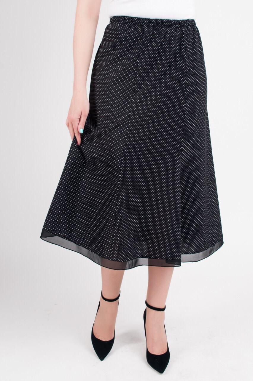 Женская летняя юбка годе черного цвета в горошек