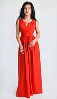 Однотонное красное платье из шифона