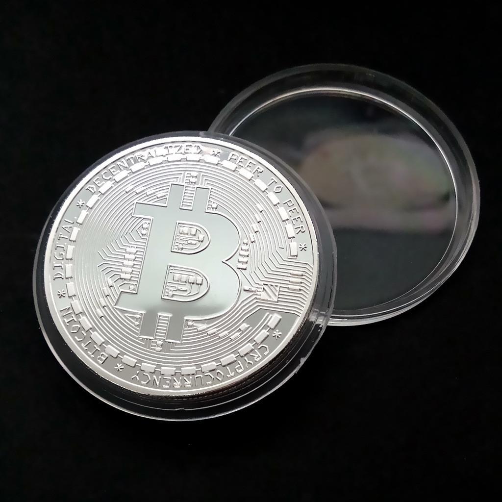 Сувенирная монета Bitcoin silver