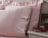 Комплект постельного белья с кружевом Tivolyo Home Elegant (pudra) евро размера, фото 1