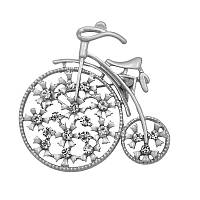 Брошь женская бижутерия с белыми стразами Велосипед Ретро BR110342 серебристая