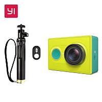 Экшн-камера / Видеокамера Xiaomi Yi Green Sport Basic Edition + монопод + Bluetooth кнопка