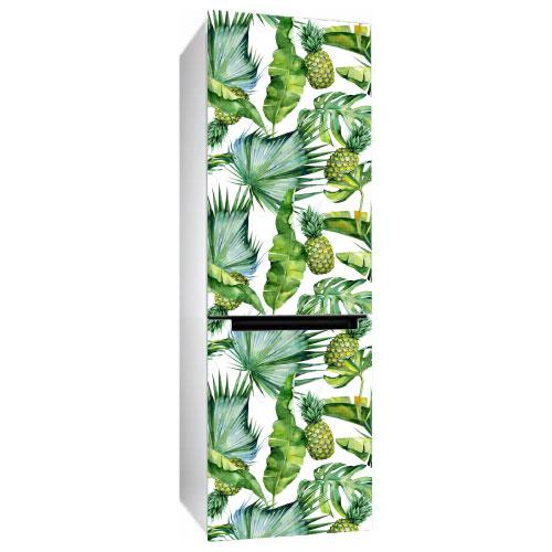 Виниловая наклейка на холодильник Ананасы (пленка самоклеющаяся фотопечать) глянцевая без ламинации 600*2000 мм