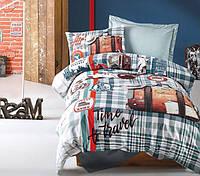 Подростковое постельное белье Cotton Box Air trevel petrol