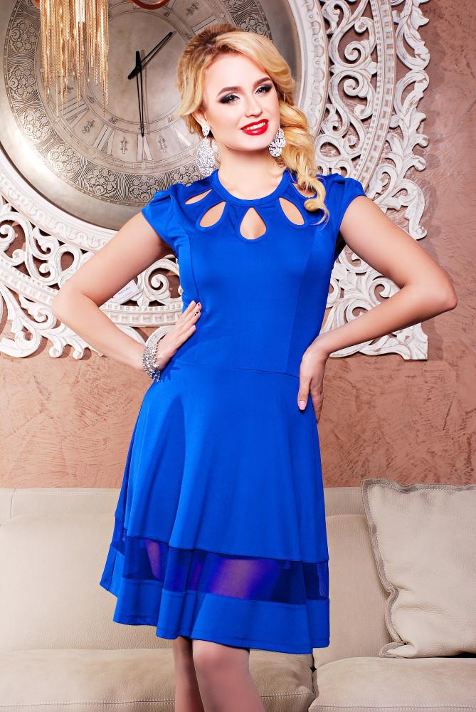 Женское молодежное платье,полуприлегающего силуэта Лилия / размер 42-50 / цвет электрик