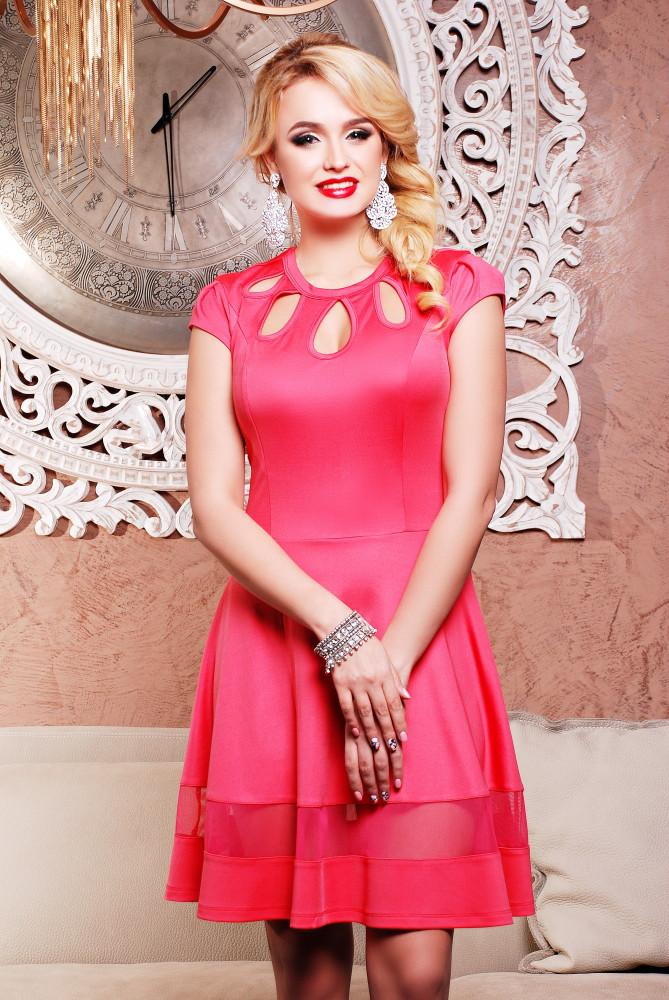 Женское молодежное платье,полуприлегающего силуэта Лилия / размер 42-50 / цвет коралл