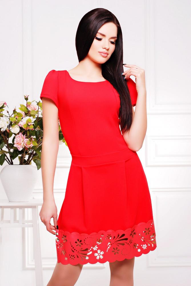 Женское молодежное отрезное платье, Диана / размер 42-50 / цвет коралл