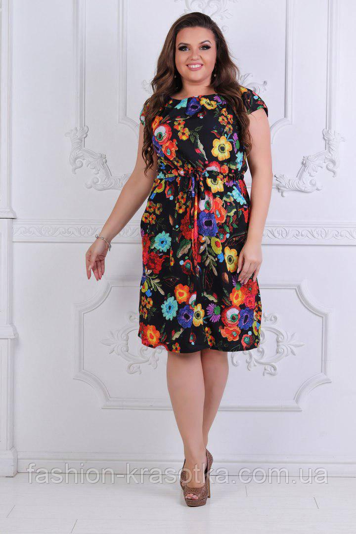Модное легкое летнее платье в размерах 50-54
