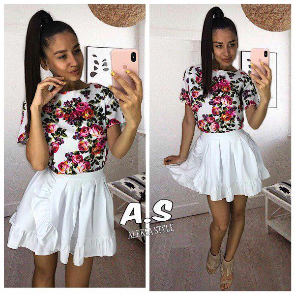Костюм юбка клеш и блуза с принтом в цветок