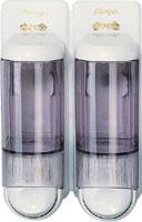 Дозатор жидкого мыла двойной, пластик прозрачный/белый 2*0,17Л acqualba 652