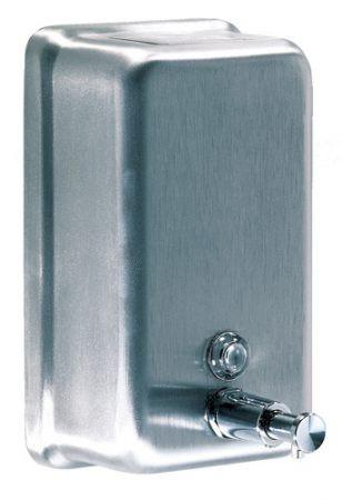 Дозатор жидкого мыла, вертикальный нержавеющий корпус, сатин 1,1Л dj0111cs