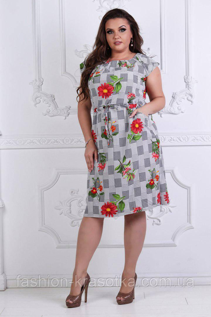 Модное летнее  женское платье, увеличенных размеров 50-54.