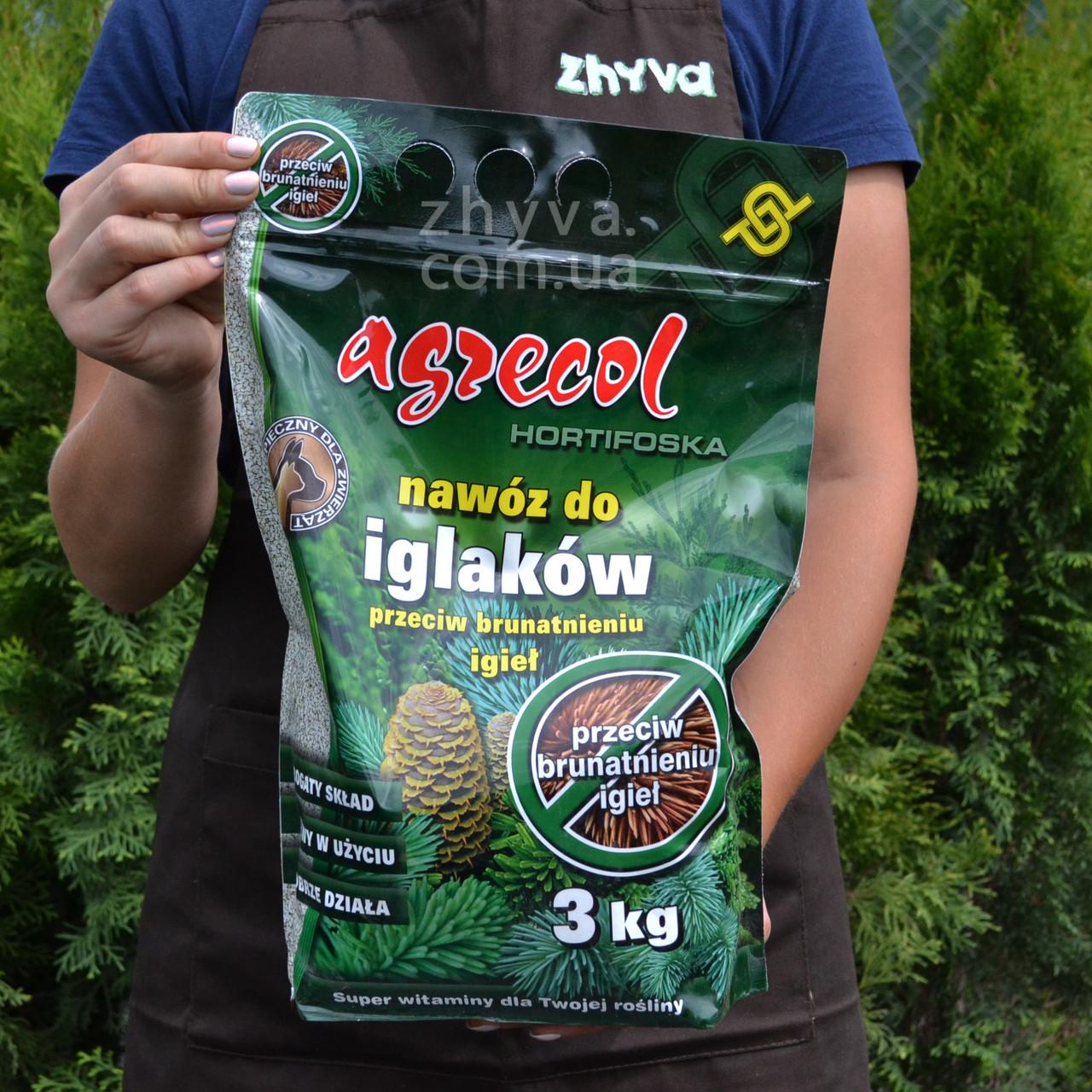Добриво Agrecol Hortifoska для хвойних рослин від пожовтіння 3кг