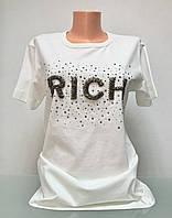 Футболка белая женская свободная модная с принтом в стиле RICH