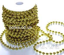 Золотые бусины на нитке (1 уп-35м) D-4-5мм