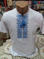 Вышиванка мужская белая с синим