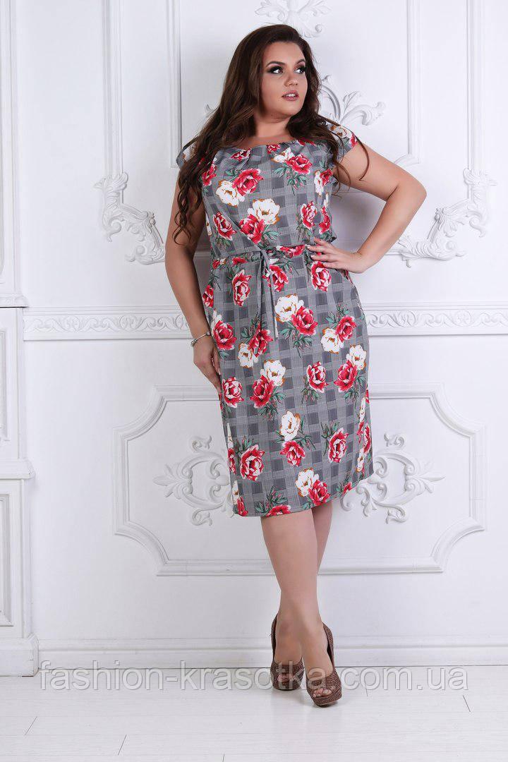 Модное летнее  женское платье, увеличенных размеров 50-54