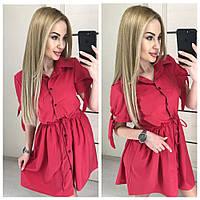Шикарное платье рубашка в красном цвете
