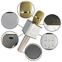 Беспроводной блютуз микрофон караоке. 2 динамика + USB Q7