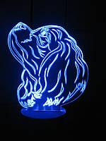 Ночник Спаниель, светильник 3d лампа, много подсветок