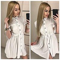 Короткое женское платье-рубашка