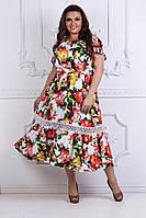 Модное легкое летнее платье ткань летний тонкий коттон+кружево, фото 1