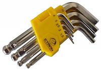 Набор Г-образных ключей Сталь HEX шарообразные удлиненные 9 ед. (арт.48103)