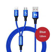 2 Micro USB + 8pin USB кабель 1.2 метра Nohon iPhone Samsung Xiaomi Lenovo LG Sony HTC Huawei ZTE Meizu Explay