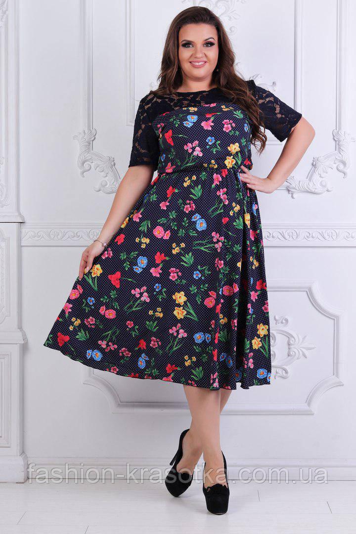 Нарядное легкое женское платье,размеры 50-56