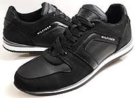 Мужские модные кожаные кроссовки Tommy Hilfiger model М 58 черные, фото 1