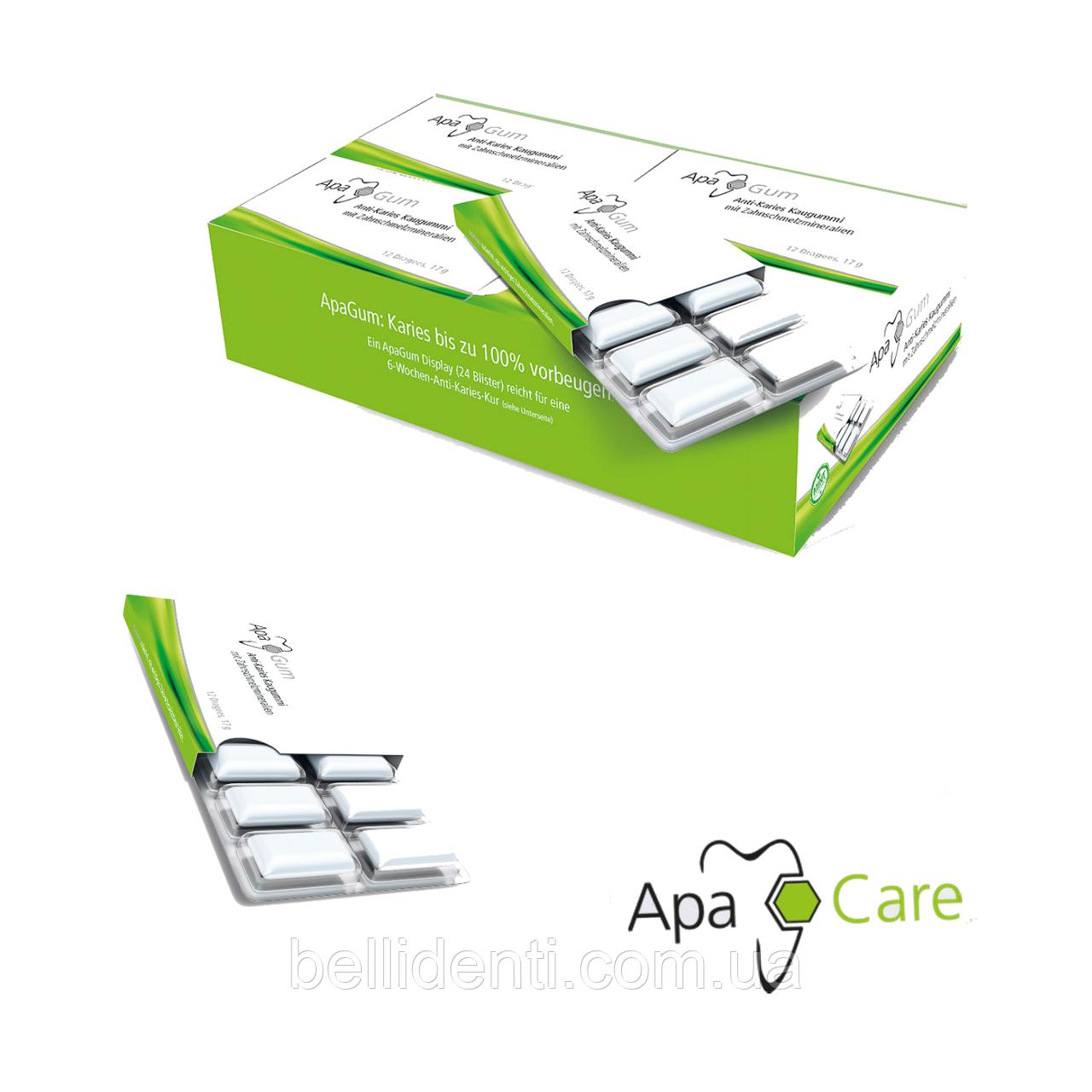Противокариесная жевательная резинка ApaCare с  ксилит и эмалевыми минералами APAGUM, 12 шт. /уп.