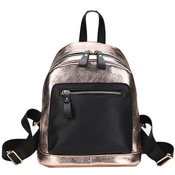 Рюкзак міський жіночий з екошкіри для дівчат (золотистий)
