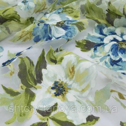 Органза выжиг, цветы молочно-голубой